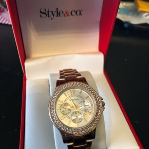 NIB style&Co ladies watch in rose gold w/ crystals
